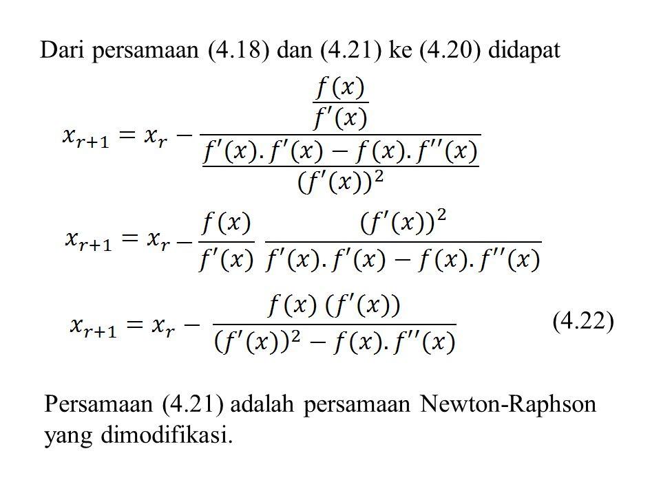 Dari persamaan (4.18) dan (4.21) ke (4.20) didapat