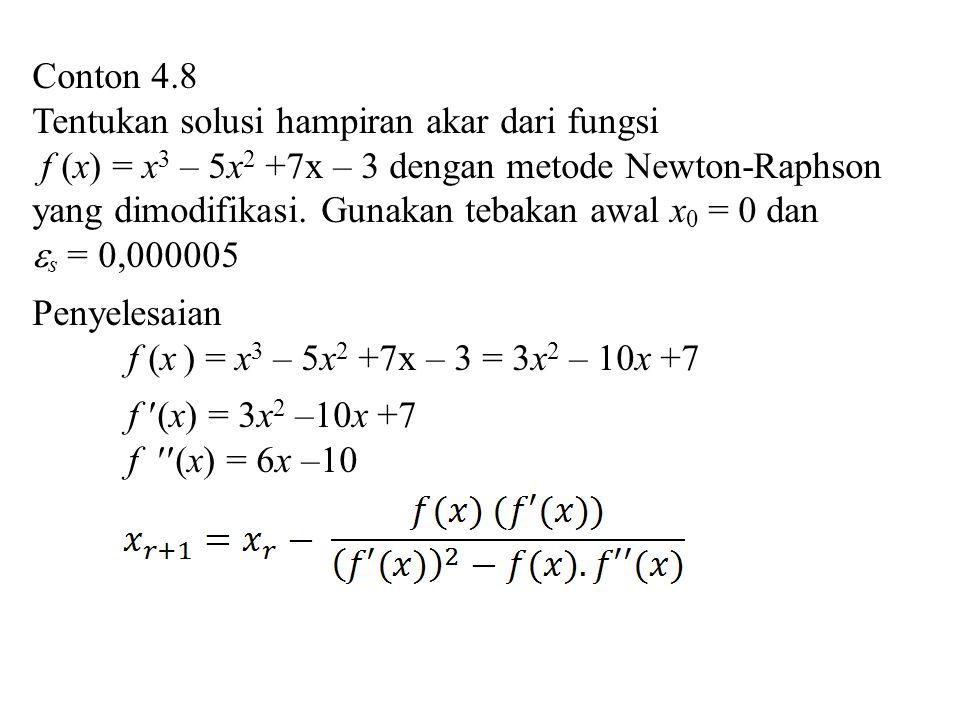 Conton 4.8 Tentukan solusi hampiran akar dari fungsi.