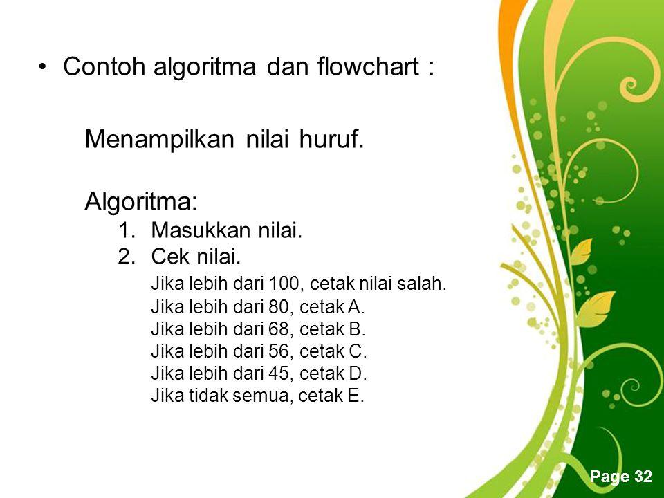 Contoh algoritma dan flowchart :