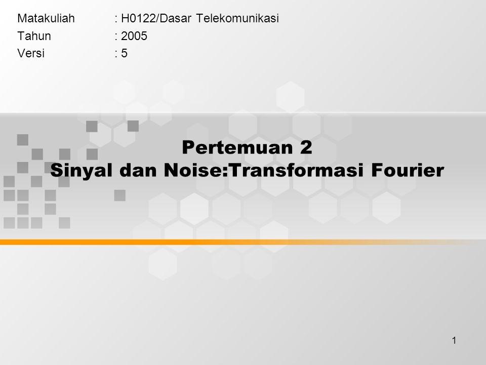 Pertemuan 2 Sinyal dan Noise:Transformasi Fourier