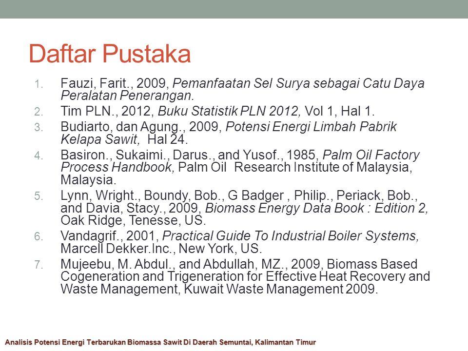 Daftar Pustaka Fauzi, Farit., 2009, Pemanfaatan Sel Surya sebagai Catu Daya Peralatan Penerangan.