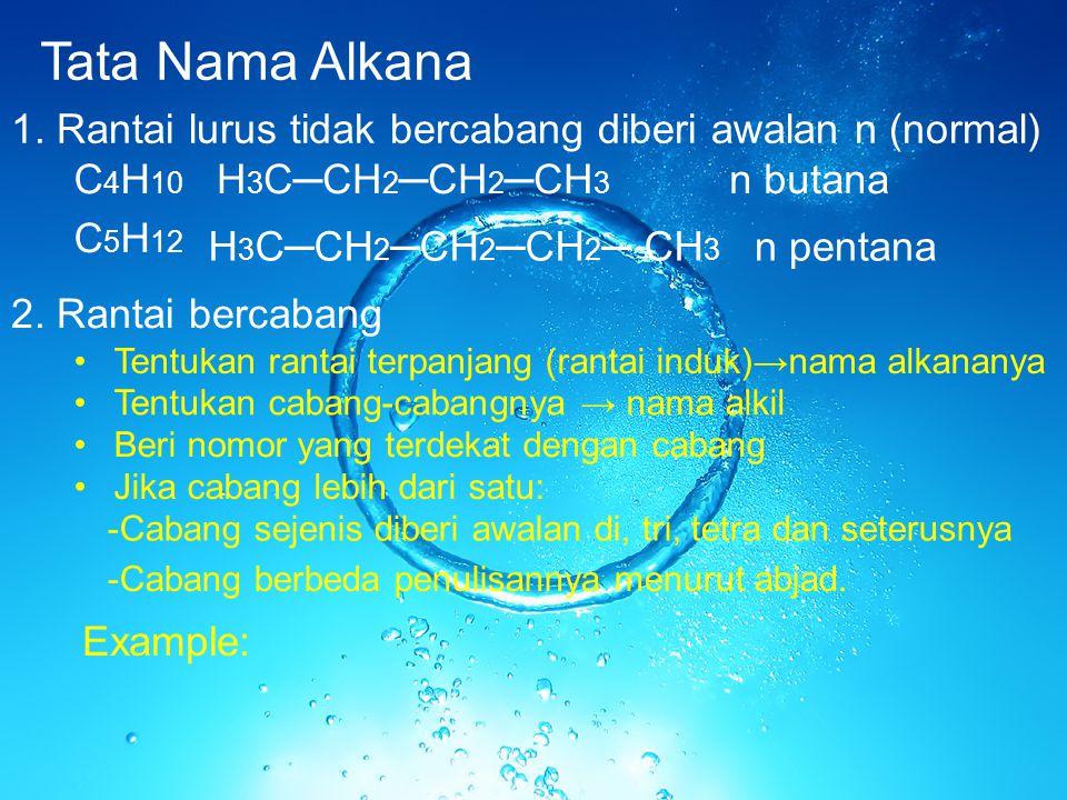 Tata Nama Alkana 1. Rantai lurus tidak bercabang diberi awalan n (normal) C4H10. H3C─CH2─CH2─CH3.