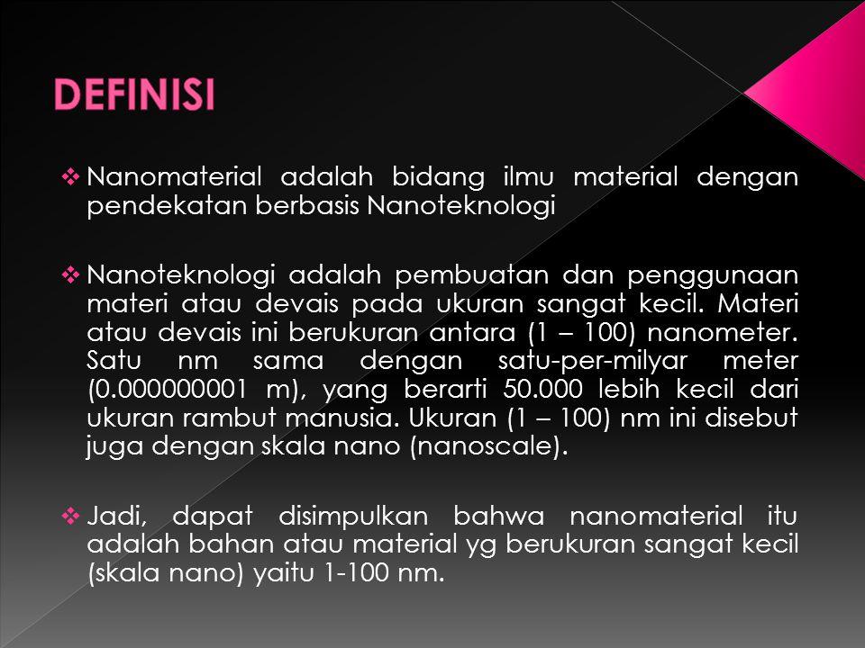 DEFINISI Nanomaterial adalah bidang ilmu material dengan pendekatan berbasis Nanoteknologi.