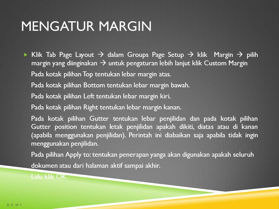 Mengatur margin