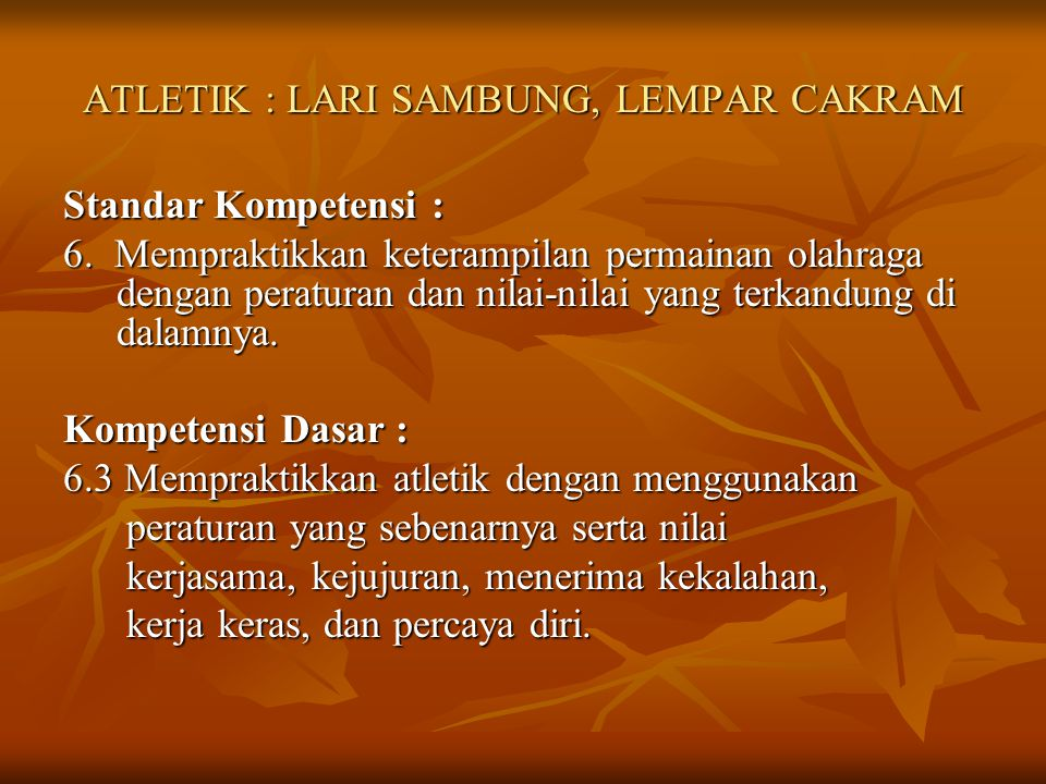 ATLETIK : LARI SAMBUNG, LEMPAR CAKRAM