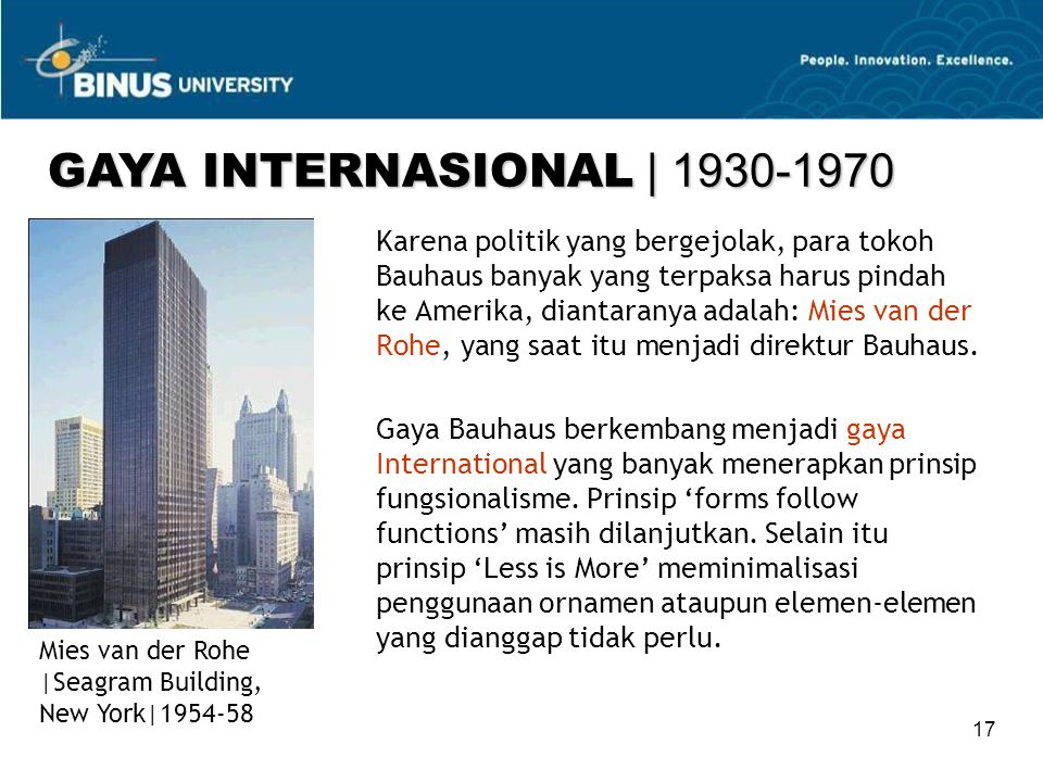 GAYA INTERNASIONAL | 1930-1970