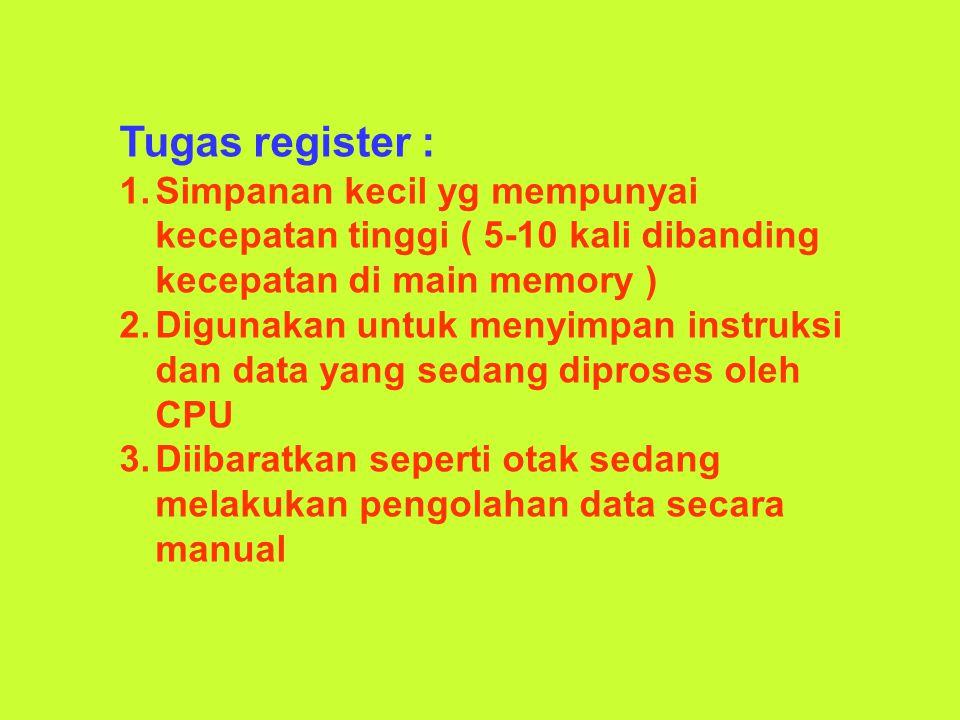 Tugas register : Simpanan kecil yg mempunyai kecepatan tinggi ( 5-10 kali dibanding kecepatan di main memory )