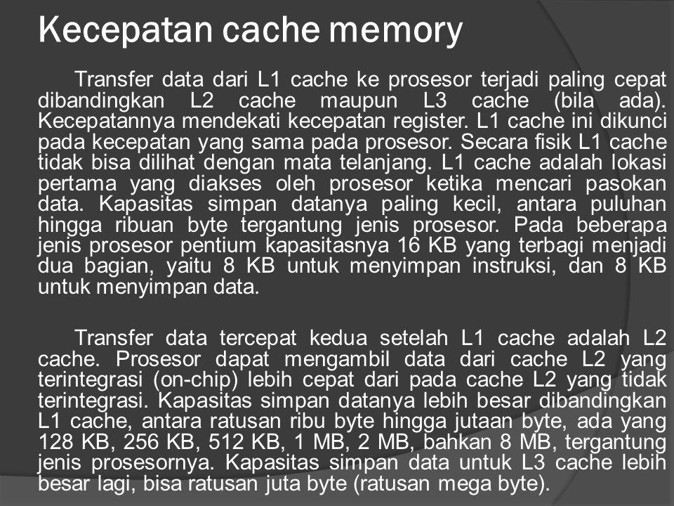 Kecepatan cache memory