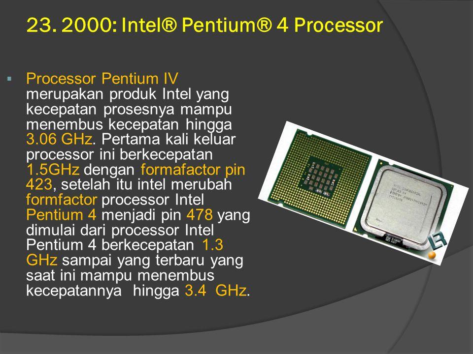 23. 2000: Intel® Pentium® 4 Processor