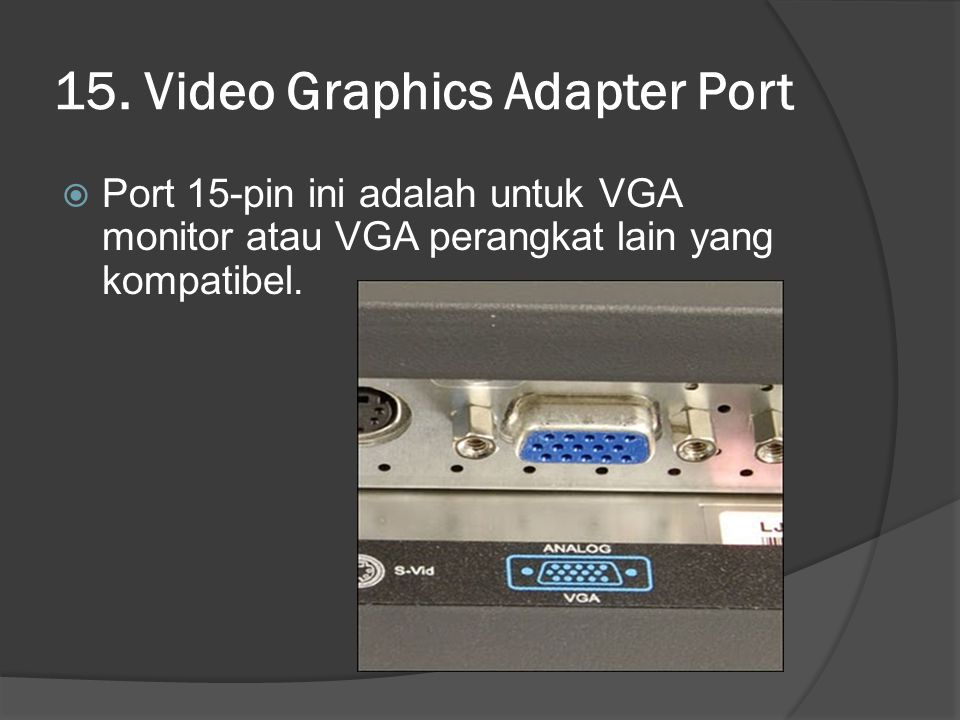 15. Video Graphics Adapter Port
