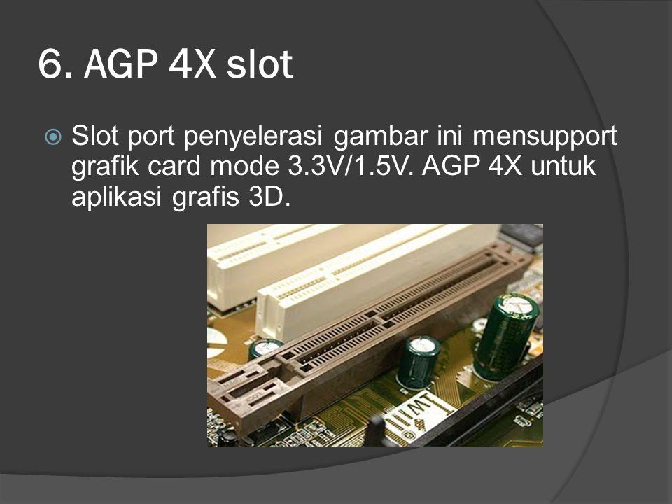 6. AGP 4X slot Slot port penyelerasi gambar ini mensupport grafik card mode 3.3V/1.5V.