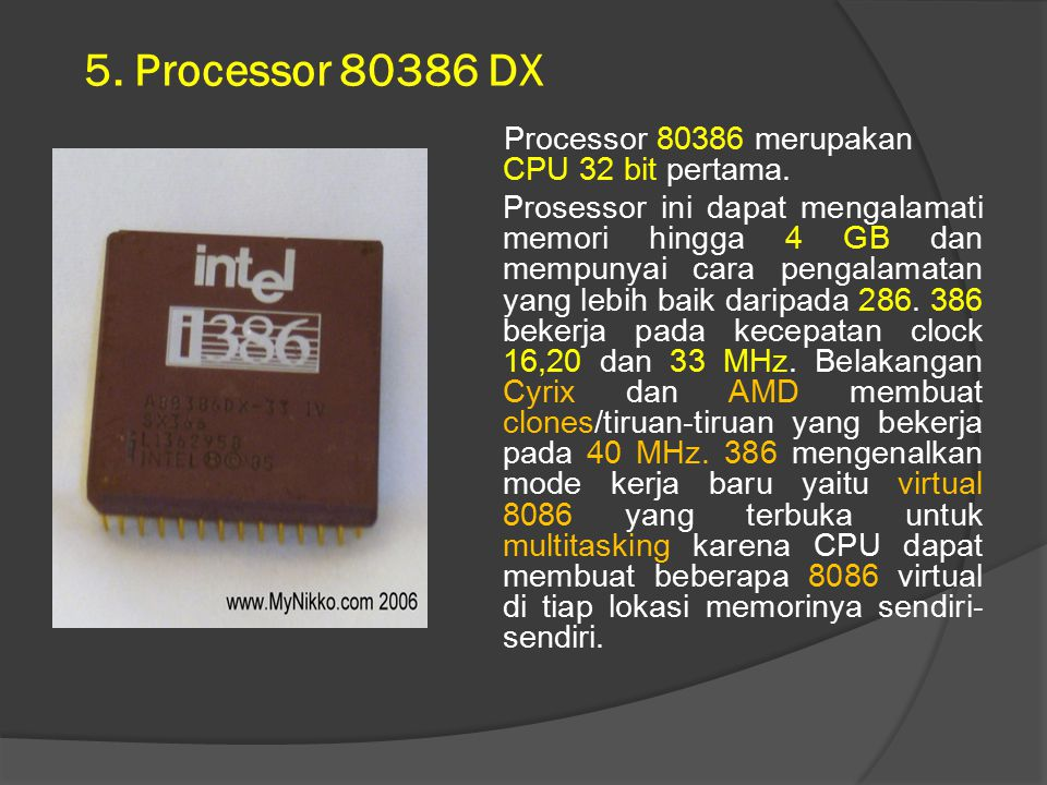 5. Processor 80386 DX