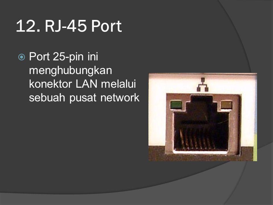 12. RJ-45 Port Port 25-pin ini menghubungkan konektor LAN melalui sebuah pusat network