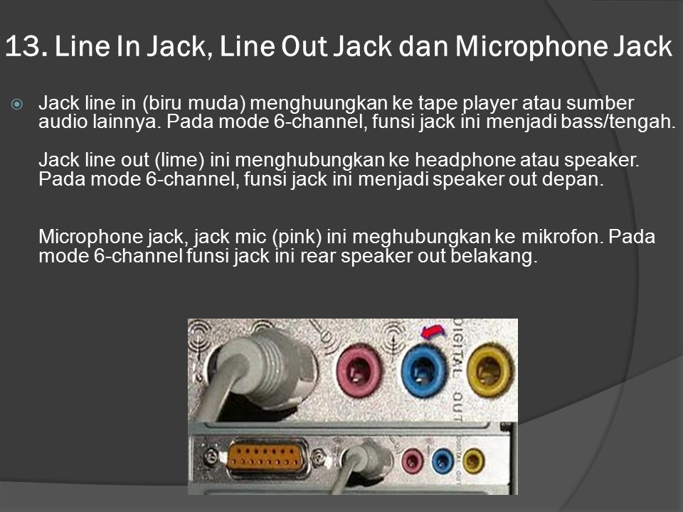 13. Line In Jack, Line Out Jack dan Microphone Jack
