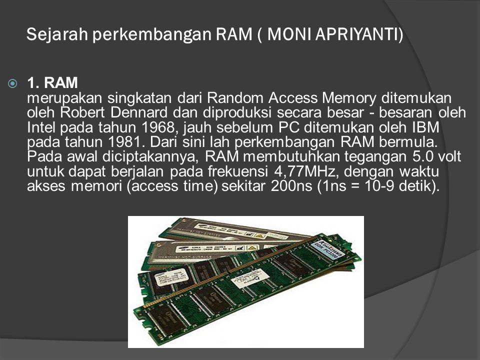 Sejarah perkembangan RAM ( MONI APRIYANTI)