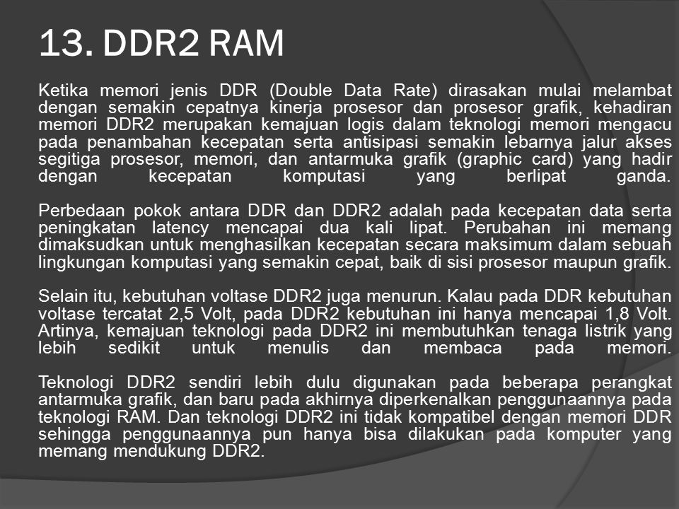 13. DDR2 RAM