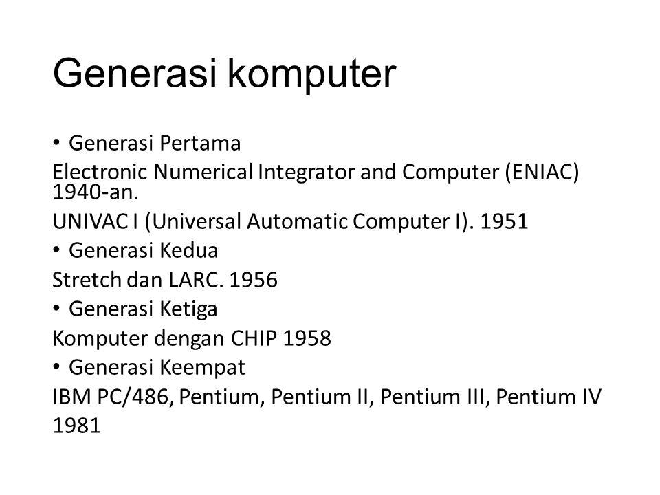 Generasi komputer Generasi Pertama