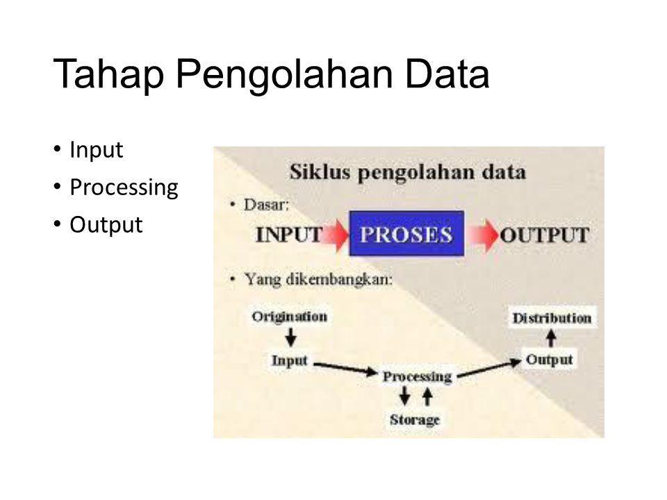 Tahap Pengolahan Data Input Processing Output