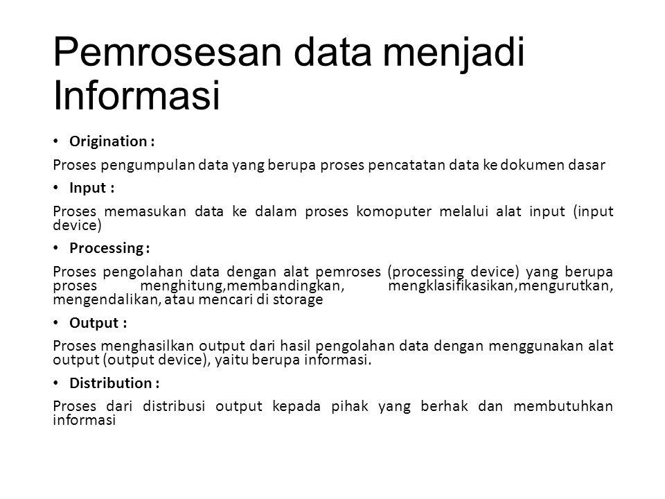 Pemrosesan data menjadi Informasi