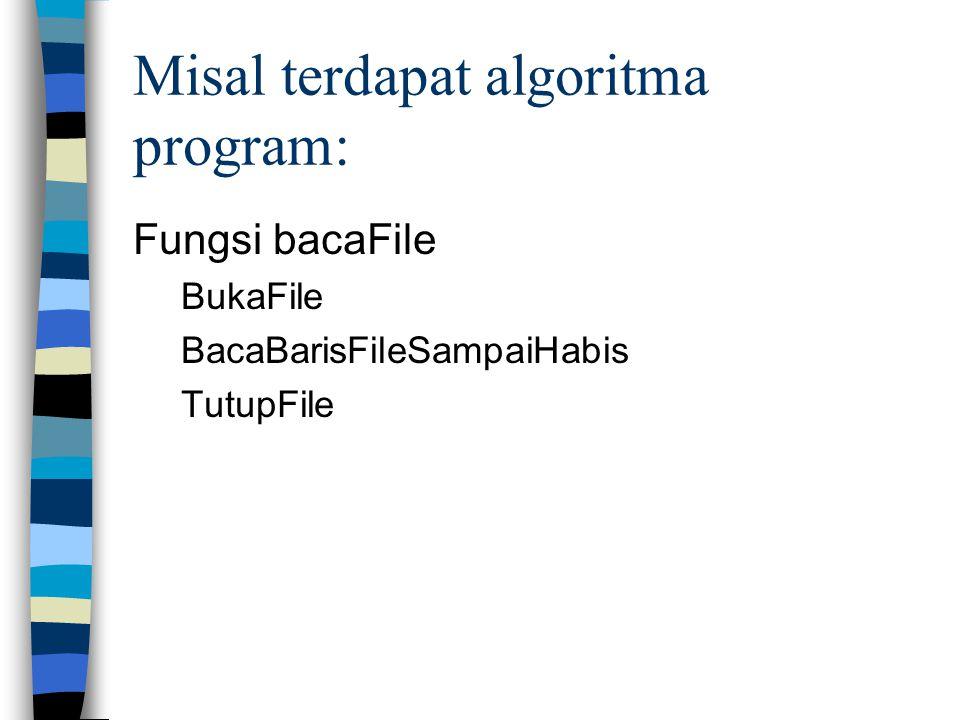 Misal terdapat algoritma program: