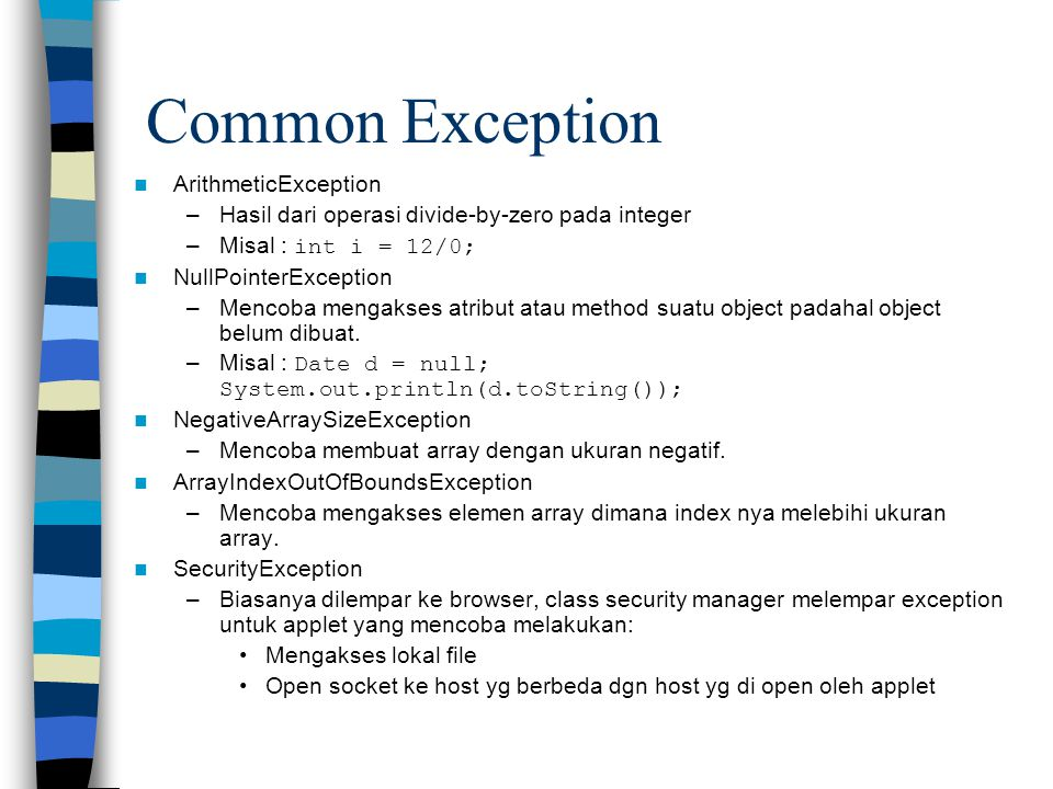Common Exception ArithmeticException