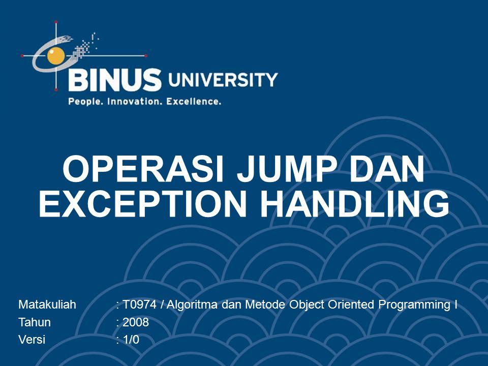 OPERASI JUMP DAN EXCEPTION HANDLING