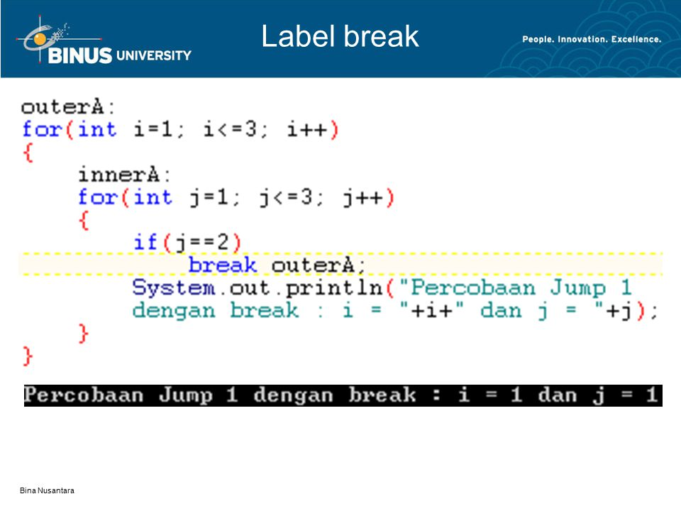 Label break Bina Nusantara