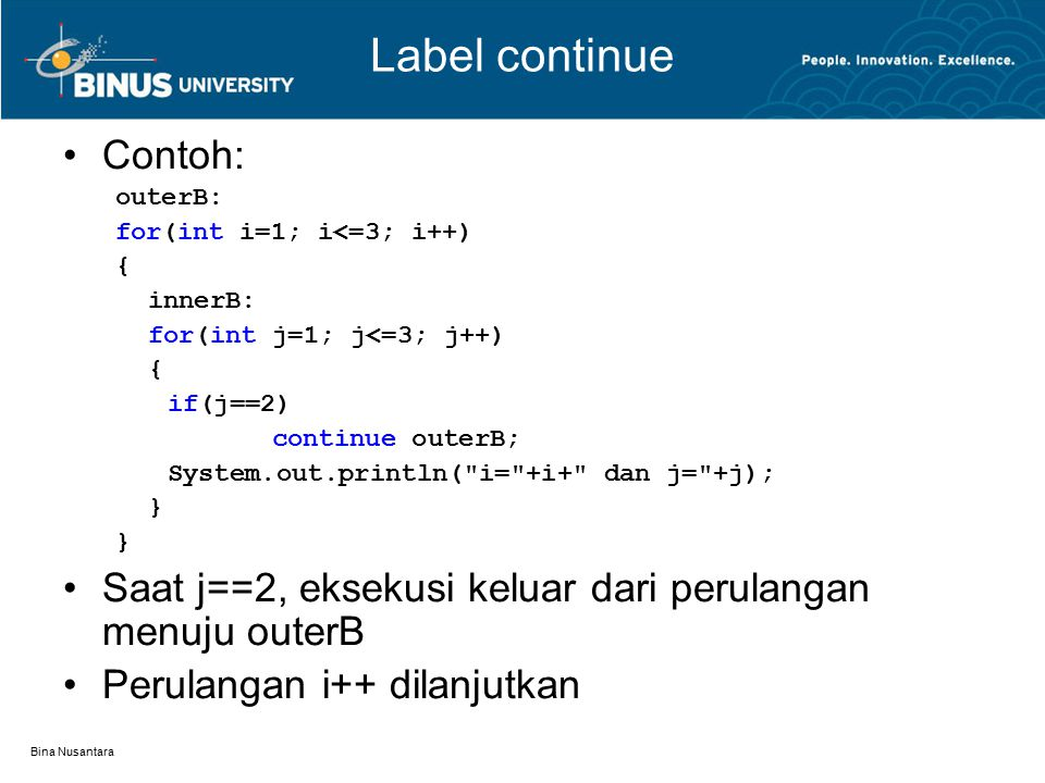 Label continue Contoh: