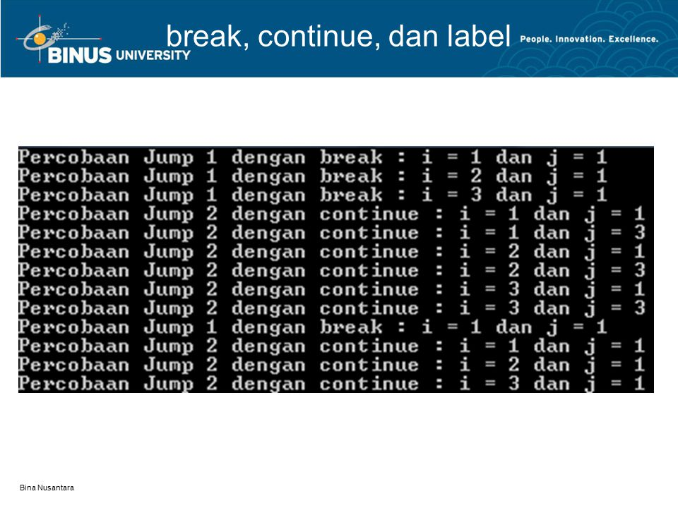break, continue, dan label