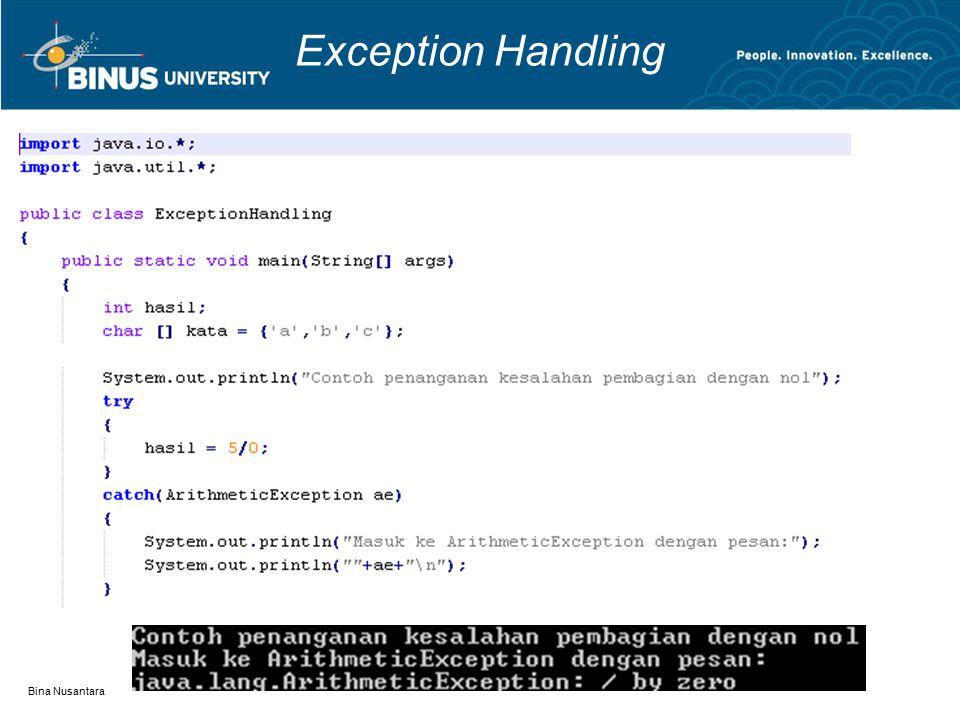Exception Handling Bina Nusantara