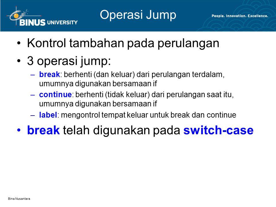 Kontrol tambahan pada perulangan 3 operasi jump: