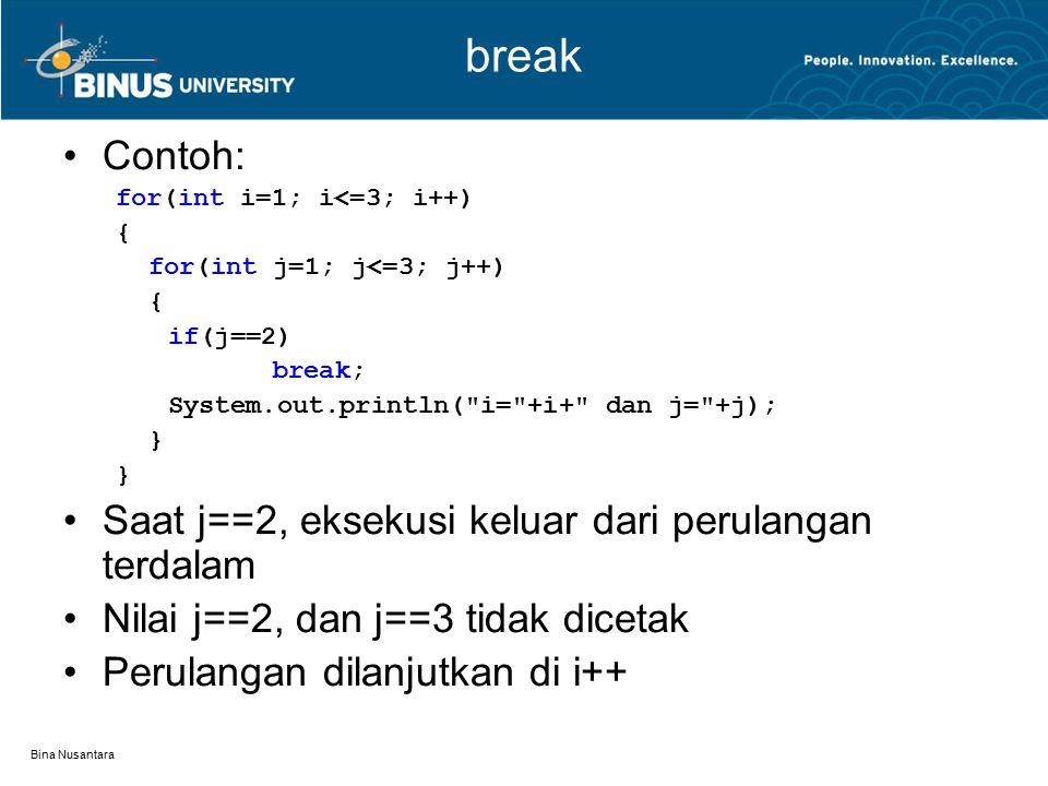 break Contoh: Saat j==2, eksekusi keluar dari perulangan terdalam