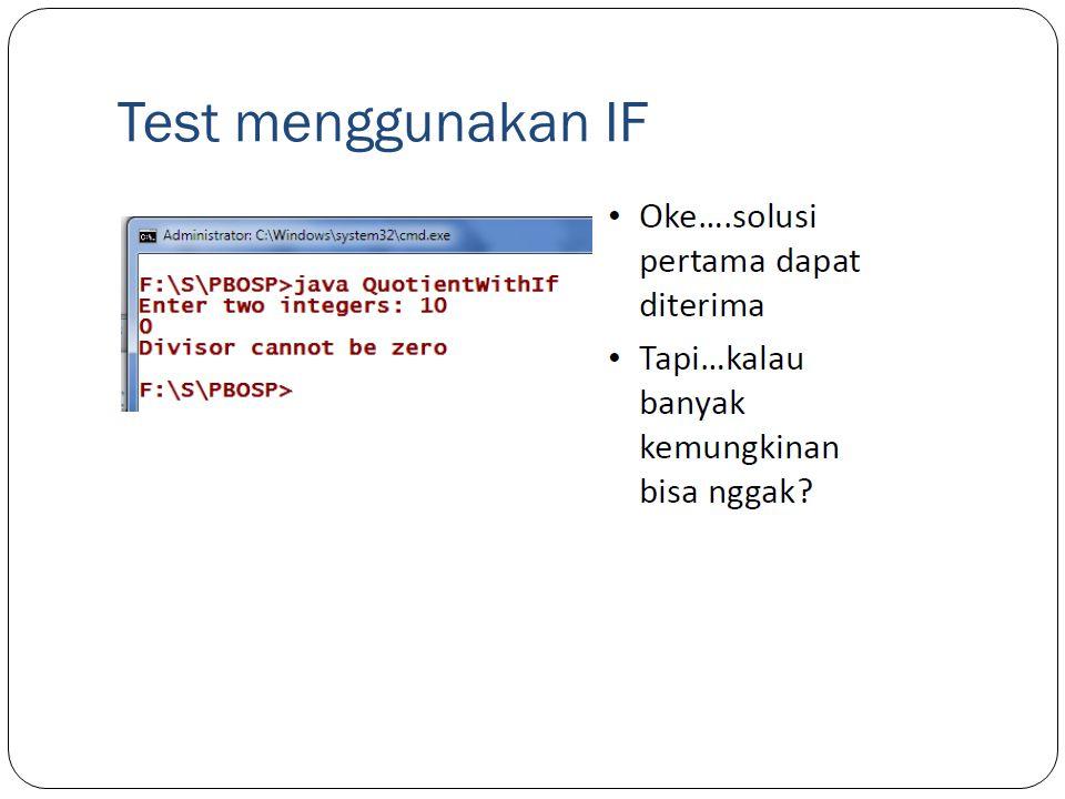 Test menggunakan IF