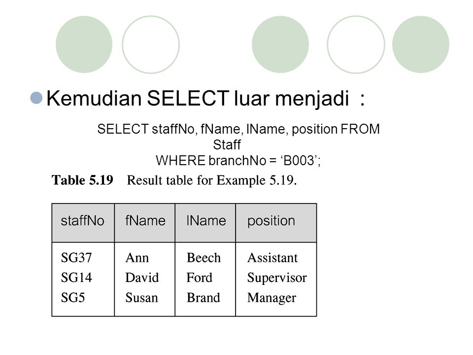 SELECT staffNo, fName, lName, position FROM Staff
