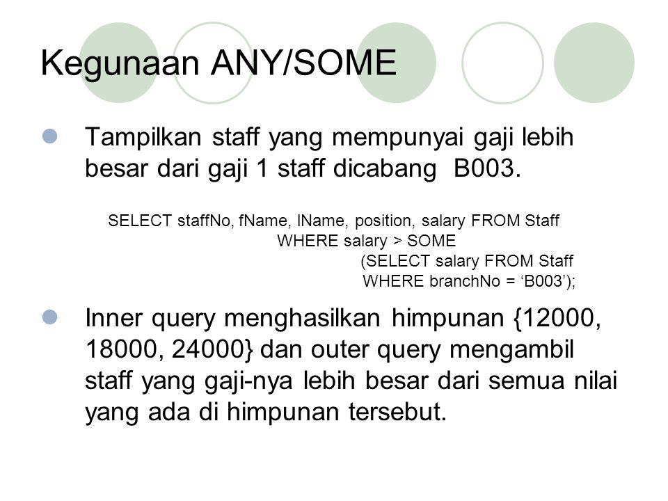 Kegunaan ANY/SOME Tampilkan staff yang mempunyai gaji lebih besar dari gaji 1 staff dicabang B003.