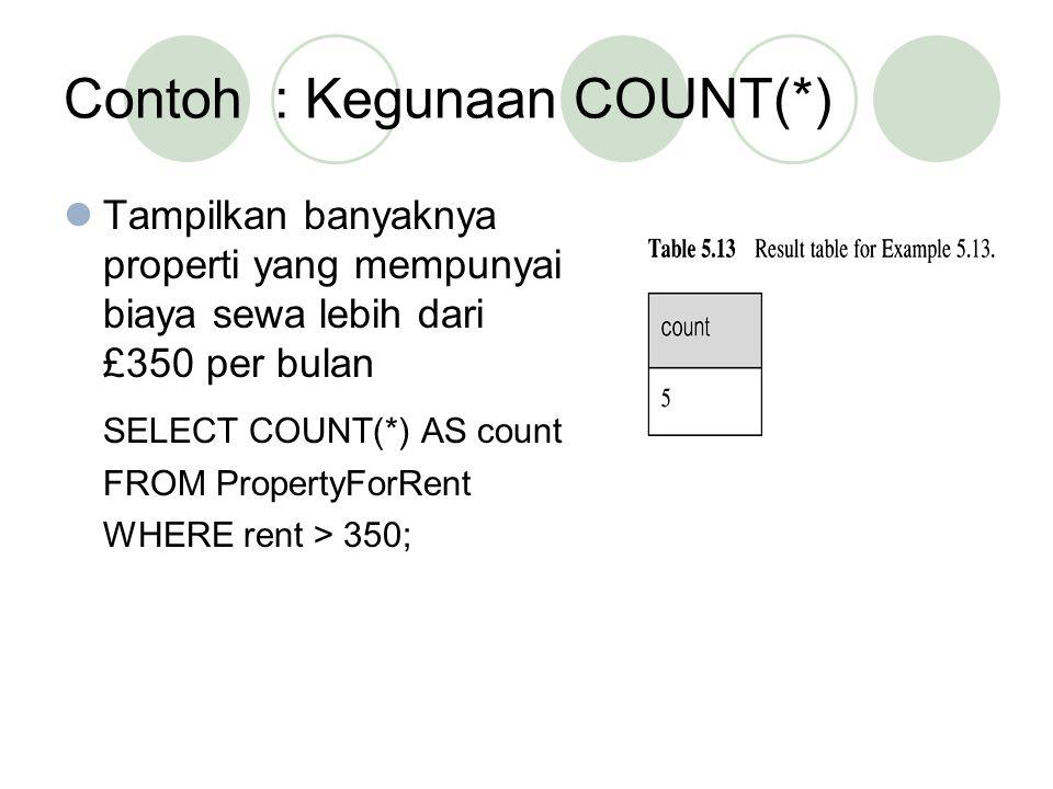 Contoh : Kegunaan COUNT(*)