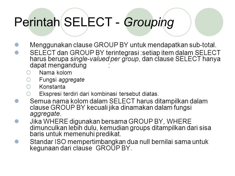 Perintah SELECT - Grouping