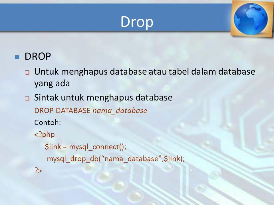 Drop DROP Untuk menghapus database atau tabel dalam database yang ada