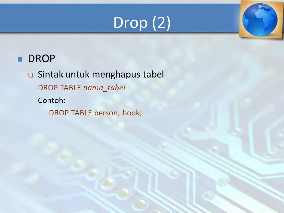 Drop (2) DROP Sintak untuk menghapus tabel DROP TABLE nama_tabel