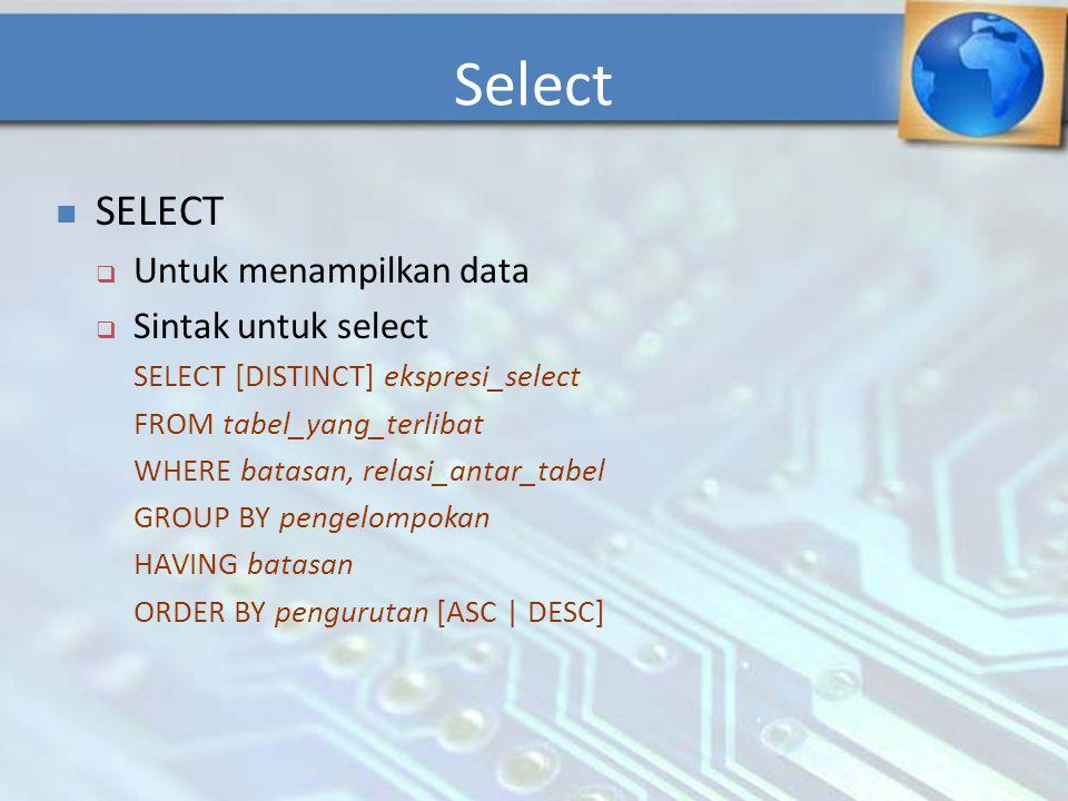 Select SELECT Untuk menampilkan data Sintak untuk select