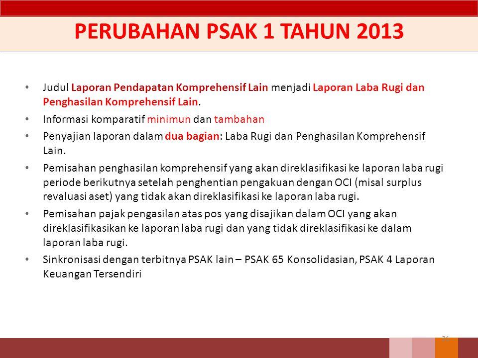 PERUBAHAN PSAK 1 TAHUN 2013 Judul Laporan Pendapatan Komprehensif Lain menjadi Laporan Laba Rugi dan Penghasilan Komprehensif Lain.