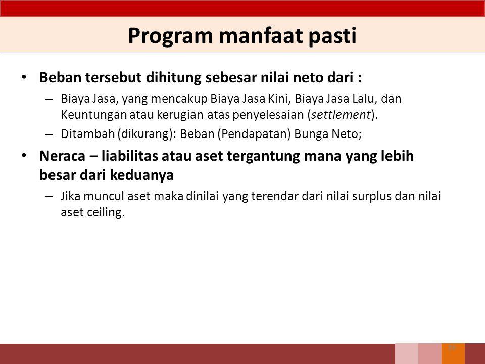 Program manfaat pasti Beban tersebut dihitung sebesar nilai neto dari :