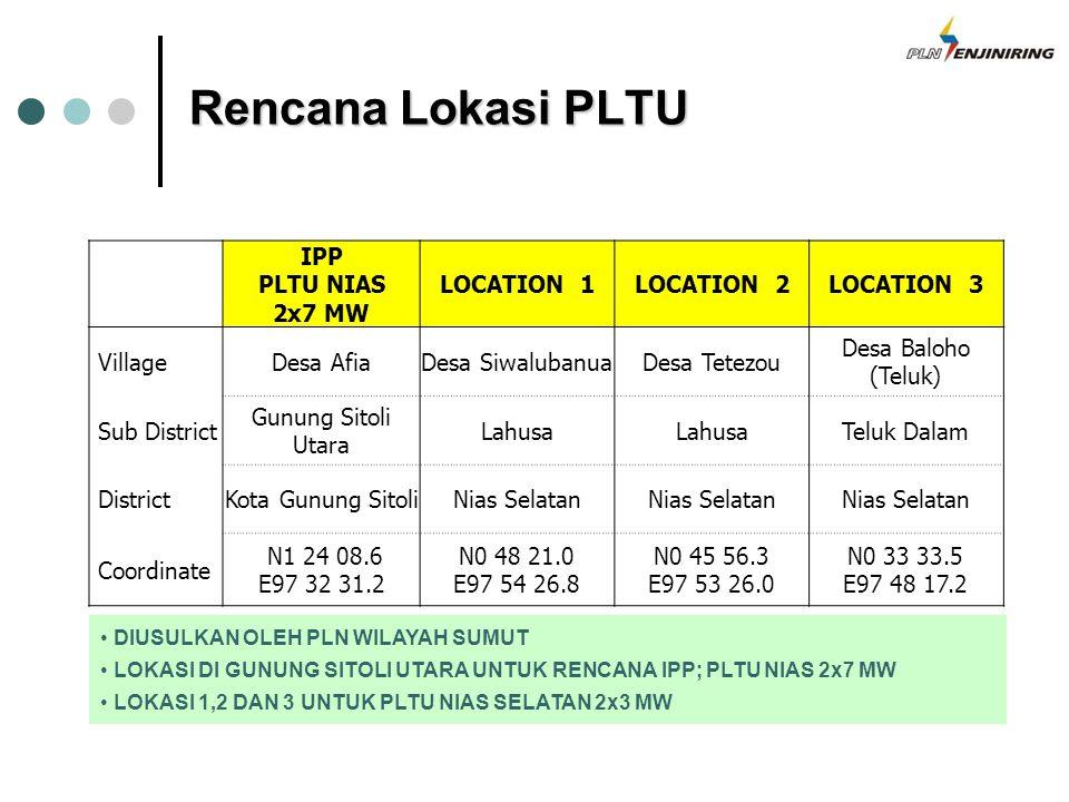 Rencana Lokasi PLTU IPP PLTU NIAS 2x7 MW LOCATION 1 LOCATION 2