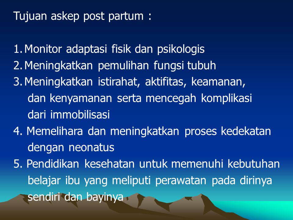 Tujuan askep post partum :