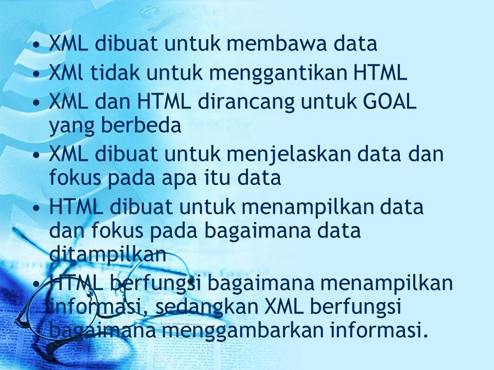 XML dibuat untuk membawa data