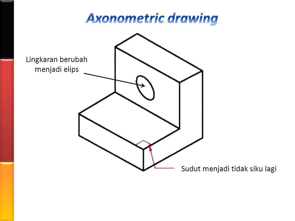 Axonometric drawing Lingkaran berubah menjadi elips