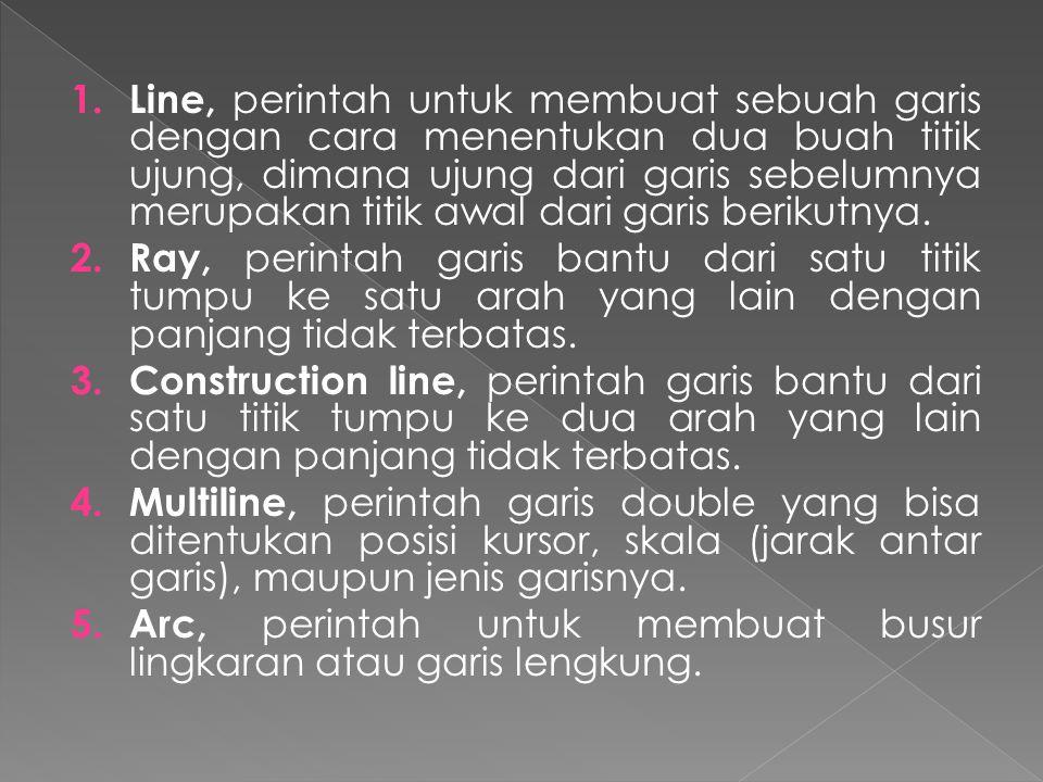 Line, perintah untuk membuat sebuah garis dengan cara menentukan dua buah titik ujung, dimana ujung dari garis sebelumnya merupakan titik awal dari garis berikutnya.