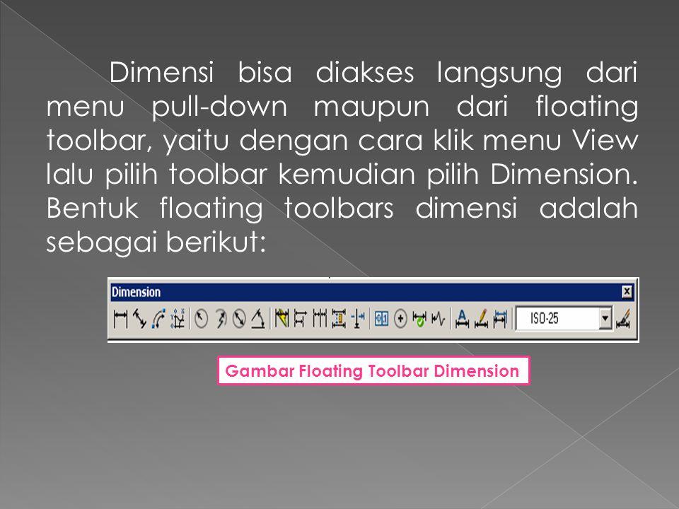 Dimensi bisa diakses langsung dari menu pull-down maupun dari floating toolbar, yaitu dengan cara klik menu View lalu pilih toolbar kemudian pilih Dimension. Bentuk floating toolbars dimensi adalah sebagai berikut: