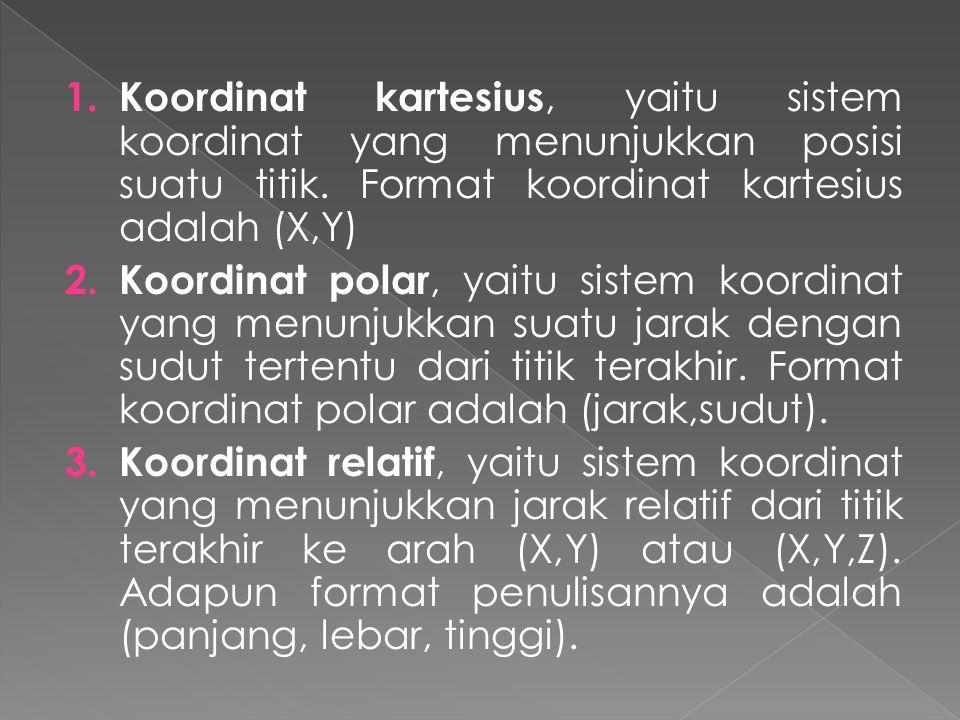 Koordinat kartesius, yaitu sistem koordinat yang menunjukkan posisi suatu titik. Format koordinat kartesius adalah (X,Y)
