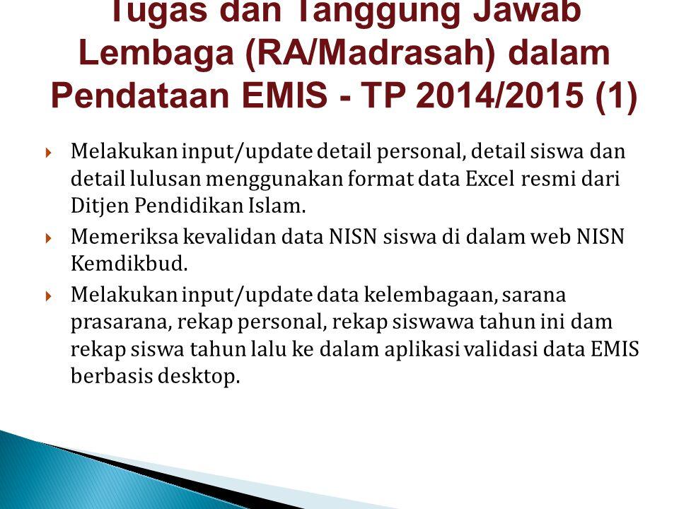Tugas dan Tanggung Jawab Lembaga (RA/Madrasah) dalam Pendataan EMIS - TP 2014/2015 (1)